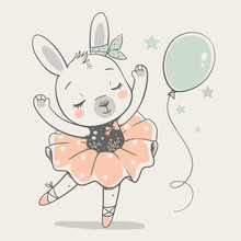 Cute Dancing Bunny Ballerina C...