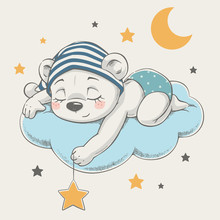 Cute Dreaming Bear Cartoon Han...