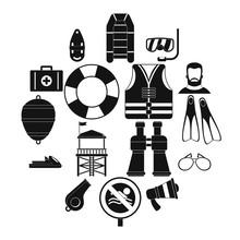 Lifeguard Save Icons Set. Simp...