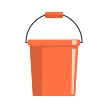 Plastic Bucket Icon. Flat Illustration Of Plastic Bucket Vector Icon For Web