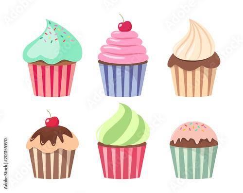 Cartoon cupcake set. Colorful cupcakes cartoons. Canvas Print