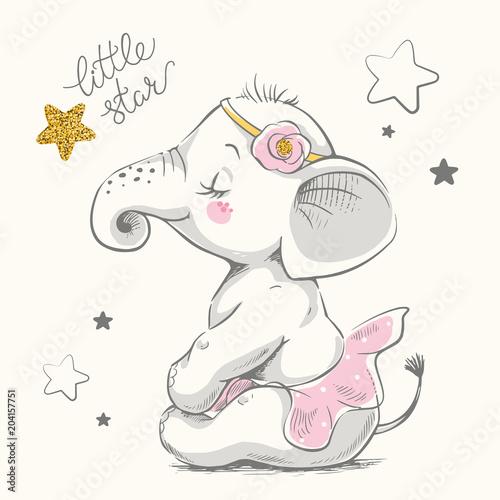 Fototapeta premium Ładny słoń baleriny kreskówka ręcznie rysowane ilustracji wektorowych. Może być stosowany do nadruków na koszulkach, projektowania mody dla dzieci, powitania z okazji urodzin baby shower i karty z zaproszeniem.