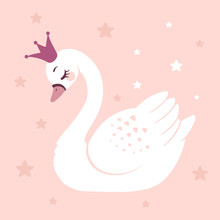 Cute Princess Swan On Pink Bac...