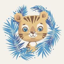 Cute Tiger In The Jungle Carto...
