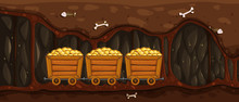Mining Trolley Full Of Gold