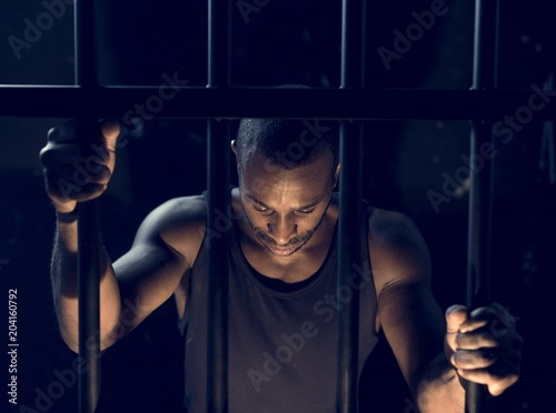 Poster A man arrest in the jail