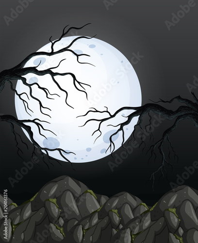 Foto op Plexiglas Kids Mystery Dark Night Forest Background