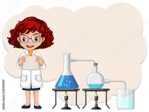 Foto op Plexiglas Kids A Female Scientist Experiment Template