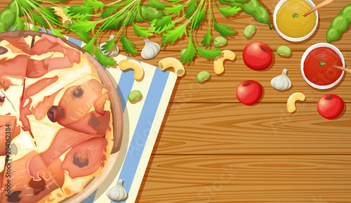 Foto op Plexiglas Kids Parma Ham Pizza on Wooden Table
