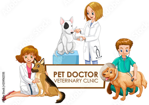 Staande foto Kids Veterinarian Doctors with pets