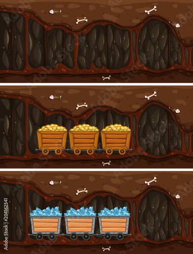 Poster Kids Cave Mine with Wooden Treasure Cart