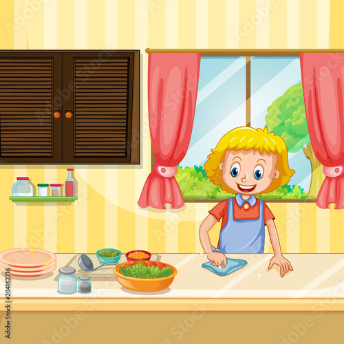 Poster Kids Mother Cleaning and Preparing Food in Kitchen