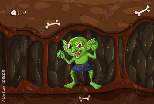 Foto op Plexiglas Kids Goblin in the Mystery Cave