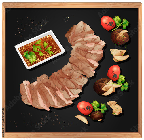 Foto op Plexiglas Kids Steak and Spicy Sauce on Blackboard