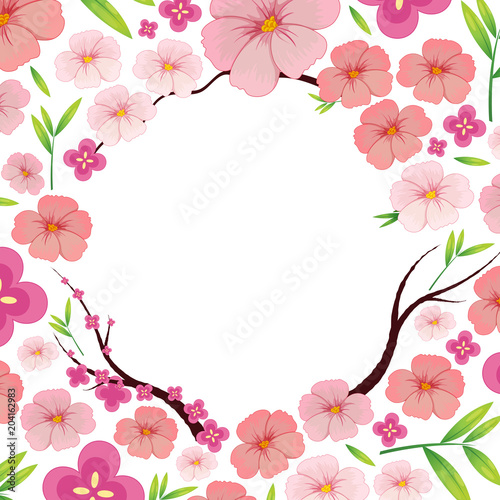 Staande foto Kids Asian Pink Japanese Sakura Template