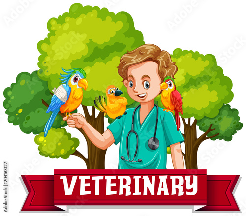 Staande foto Kids Veterinary Banner with Colourful Bird