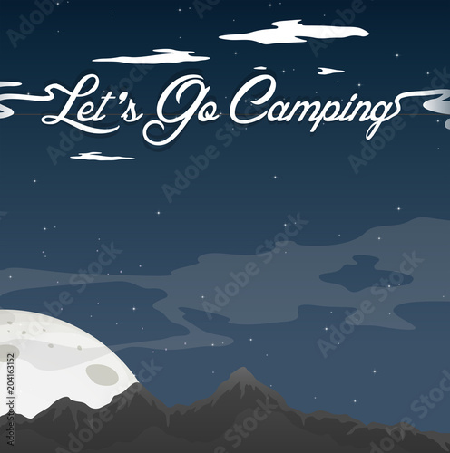 Poster Kids Camping At Night Clear Blue Sky
