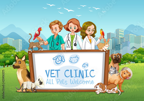 Foto op Plexiglas Kids Cute Pets Clinic Welcome Sign