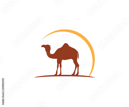 camel and sun vector icon logo design Wallpaper Mural