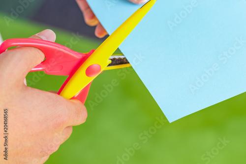 Fotografie, Obraz  工作 はさみで画用紙を切る