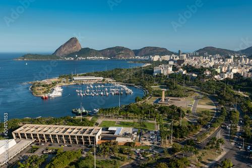 Aerial View of Museum of Modern Art, Marina da Gloria and the Sugarloaf Mountain in the Horizon, in Rio de Janeiro, Brazil
