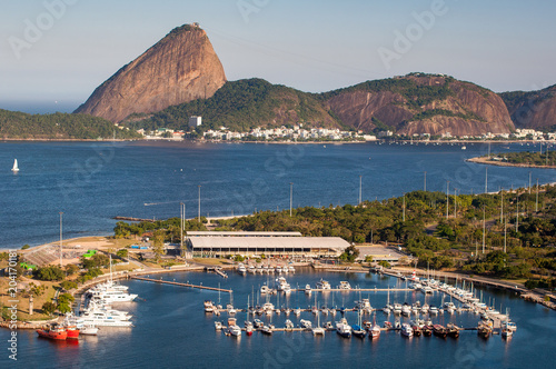 View of Marina da Gloria With Ships and Yachts in Guanabara Bay, and the Sugarlo Poster Mural XXL
