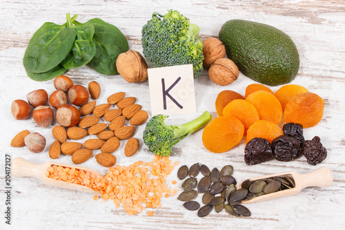 Keuken foto achterwand Assortiment Fruits and vegetables containing vitamin K, minerals and dietary fiber, healthy nutrition concept