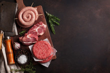 Raw Meat And Sausages