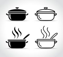 Pot Icons On White Background