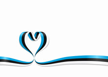 Estonian Flag Heart-shaped Ribbon. Vector Illustration.