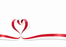 Indonesian Flag Heart-shaped Ribbon. Vector Illustration.