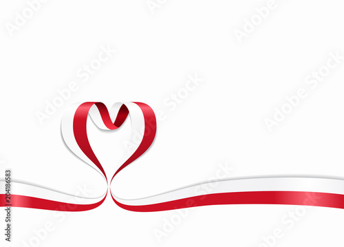 Fotografía  Polish flag heart-shaped ribbon. Vector illustration.