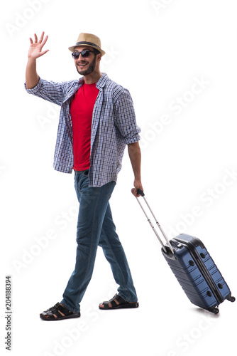 Papiers peints Fluvial Young man ready for summer travel isolated on white