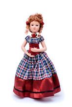 Porcelain Doll In Vintage Dress