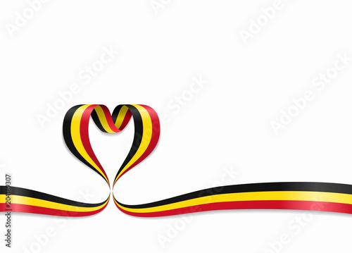 Fotografía  Belgian flag heart-shaped ribbon. Vector illustration.