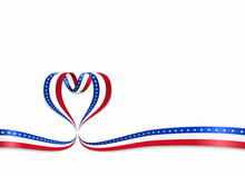 American Flag Heart-shaped Rib...