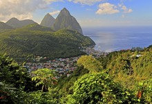 Tropical Landscape With View Of The Village And The Two Pitons, Gros Piton 770m And Petit Piton 743m, Early Morning Sun, Soufriere, St. Lucia, Little Antilles, West Indian Islands, Caribbean Sea