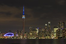 Skyline At Night, Lake Ontario, CN Tower, Toronto, Ontario, Canada, North America