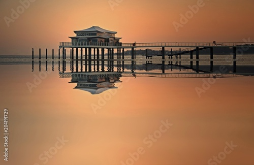 Tea House on the pier at sunrise, Timmendorfer Strand, Baltic Sea, Schleswig-Holstein, Germany, Europe