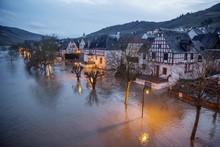 Floods On The Moselle, Twilight, Reil, Rhineland-Palatinate, Germany, Europe