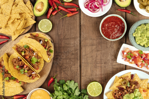 Overhead photo of assortment of Mexican tapas