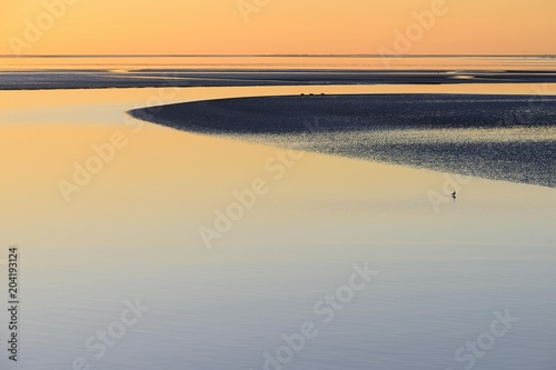 Sunset over the Wadden Sea, North Sea, Lower Saxony, Germany Niedersachsen, Germany, Europe