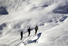 Ski Mountaineers, Snowy Mountain Environment, Aosta Valley, Italy, Europe