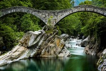 Verzasca River With Arched Bri...
