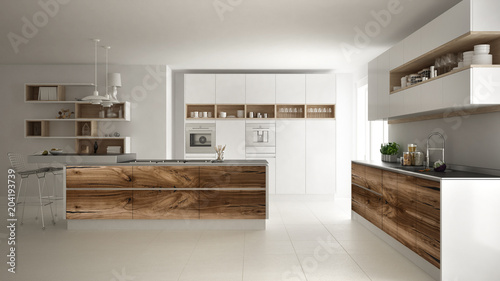 White modern minimalistic kitchen, with classic wood fittings, panoramic window, luxury interior design