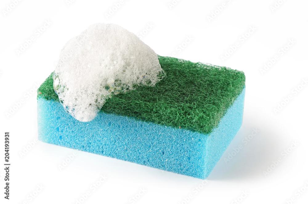 Fototapeta dishwashing sponge on a white background