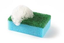 Dishwashing Sponge On A White ...