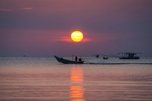 Sunset At Sea, Longtail Boat, ...