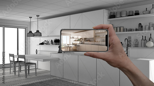 Hand holding smart phone, AR application, simulate furniture and interior design Wallpaper Mural