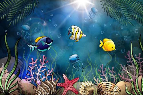 Tuinposter Koraalriffen Composition of seashells, starfish, jellyfish. Underwater world. Sea background.